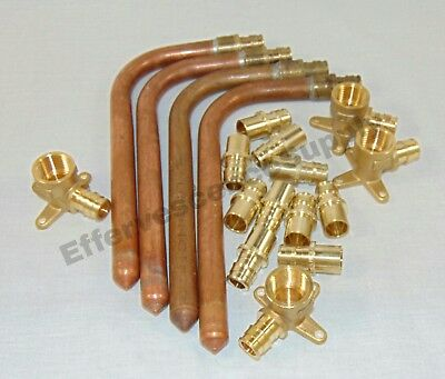 """Lot of 18 - Uponor (Wirsbo) 1/2"""" ProPEX Fittings Adapter -Drop Ear Elbows -Valve"""