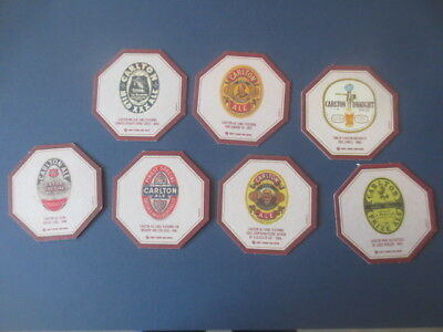 """set of 7 different CARLTON DRAUGHT  """" 150 Years celebration """"  BEER  COASTERS"""