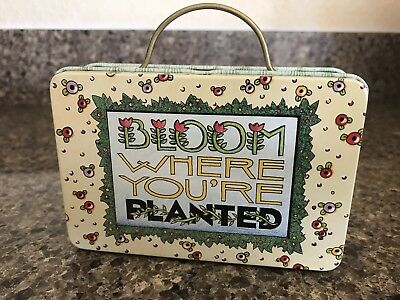 Mary Engelbreit Bloom Where You're Planted Tin Rectangle Mini Suitcase Style