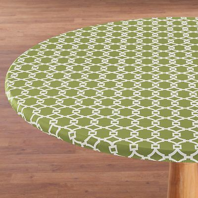 FITTED Round Elastic Edge Vinyl Tablecloth Table Cover fits 36 to