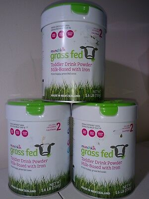 Lot of 3 = MUNCHKIN GRASS FED TODDLER DRINK POWDER STAGE 2(SEALED)1.6LB 730g