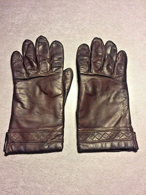 Fownes Luxury Brown Leather Gloves Fully Lined Top Stitch Wrist Detail  Sz 7 1/2