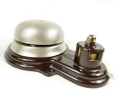 Rare Art Deco Hand Wind Up Fire Alarm Bell w Push Button Working NOS Deadstock