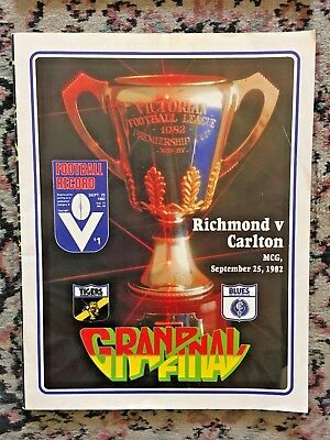1982 AFL GRAND FINAL FOOTBALL RECORD CARLTON v RICHMOND in VG CONDITION
