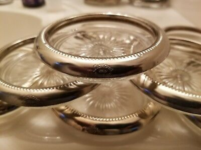 Set(8) Leonado Glass Coasters W/ Silver Plated Rim made in Italy