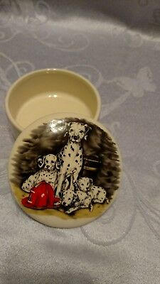 Dalmatian Mother W/ 3 Pups & Fireman Hat Trinket Box Hand Crafted Hand Painted