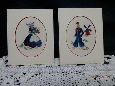 VINTAGE - SET of 2  DUTCH BOY & GIRL w/ Windmill & Tulips  PETIT POINT PICTUREs