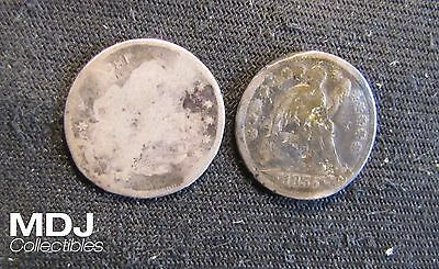 Lot of 2 Silver Half Dimes - 183? Bust Half Dime & 1855 Seated Half Dime (Bent)