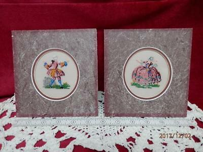 VINTAGE - SET of 2 COLONIAL TRADITIONAL MAN & WOMAN  -  PETIT POINT PICTUREs