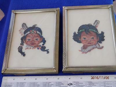 Vintage - Pair Of 2 Native Indian Children  - Framed  -  Petit Point Pictures