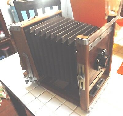 Antique Burke and James Wooden Large Format View Camera Complete with Lens
