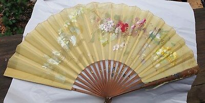 "Large 25"" Antique Art Nouveau French Silk Fan Signed Flower Fancy Sticks France"