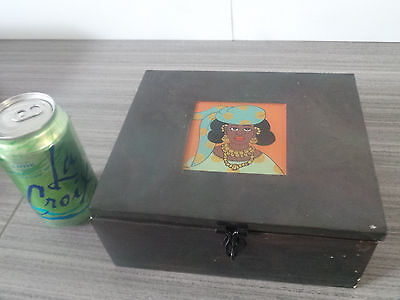 Recycled Tin Metal Box Senegal African Hand Painted Fair Trade Africa Lid Signed