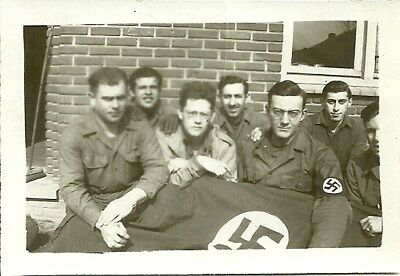 GIs with captured German Nazi flag picture Original