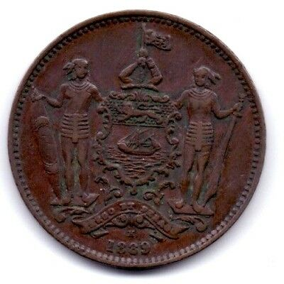 British North Borneo One Cent Beautiful Detail Extra Fine to UNC Coin