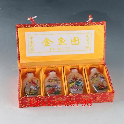 4PC Exquisite Glass Interior Painted Hand-painting Goldfish Snuff Bottle ZJ262