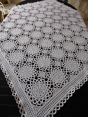 Exquisite Vintage Heavy White Crochet Lace Tablecloth