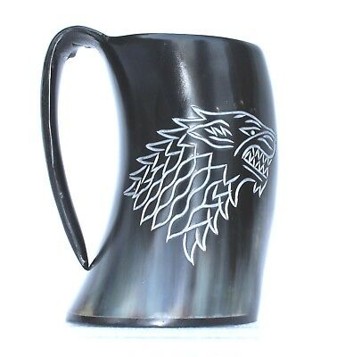 Game of thrones Stark house carved Viking Drinking Horn ale mead Mug Tankard