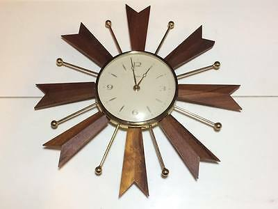 Mid century Paico walnut and brass starbust wind up wall clock made in England