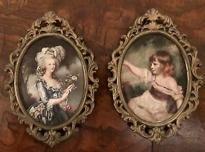 "Vintage Artitalia Brass Gilded Framed Florentine Silk Cloth Portraits. 7x9""."