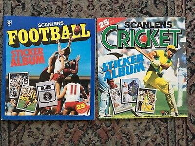1983 Scanlens Football + Cricket Sticker Albums With Stickers Vg Condition