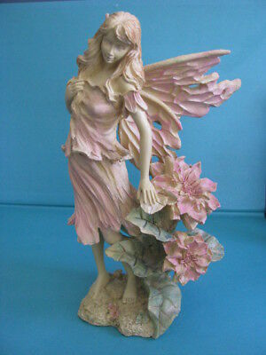 LOVELY  FAIRY  FIGURINE -  STANDING  -  LARGE  FLOWER  on SIDE