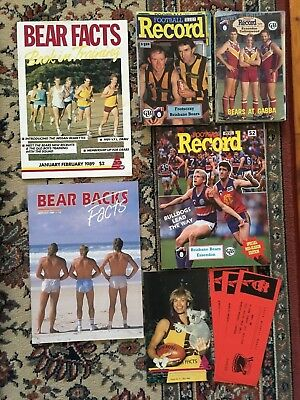 Lot Of Assorted Brisbane Bears Footy Records + Bears Facts Magazine
