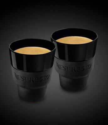 Nespresso Touch Mug (x2) in black porcelain and soft-touch silicone