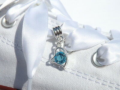 Silver Heart  Shoe Charm with aTurquoise Crystal For Blinged SparklyTrainers