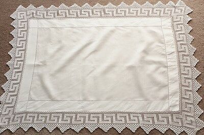 """Vintage white linen table top cloth with 10cm (4"""") crochet border."""