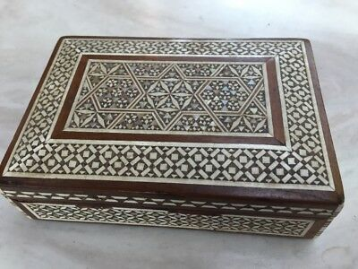 Antique Wooden Box Handcrafted 18th Rare Mother Of Pearl Box