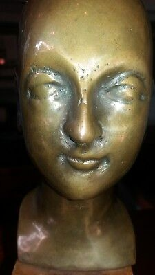 Solid Bronze Bust on wood  Base -