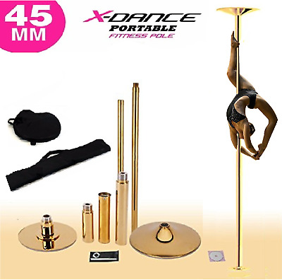 9' FT 45mm GOLD X-Dance Pole Professional Spinning Exotic Portable Removable NEW