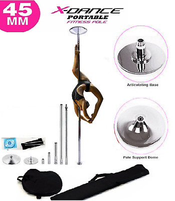 9' FT 45mm CHROME X-Dance Pole Professional Spinning Exotic Portable Removable