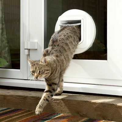 Microchip Cat Flaps Wall Mounting Adaptor Glass Doors Small Pet Safe Gate White