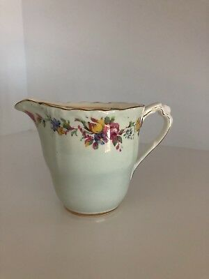 Very Pretty Paragon China Milk Jug In Mint Green With Floral