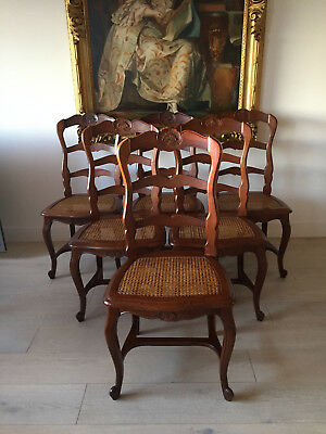 Set of 6 Antique French Oak Kitchen-Dining Chairs