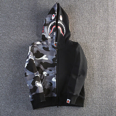 A bathing bape BAPE Child hoodie sweater baby long sleeve shark camouflage hat