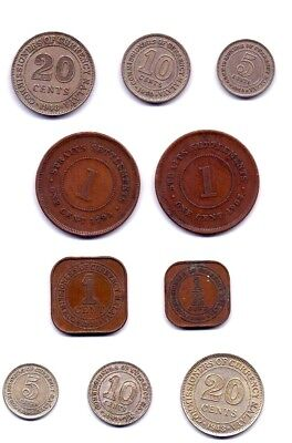 Malaya &  Straight Settlement  Set Of 10 Coins  1/2,1,5,10 & 20 Cents