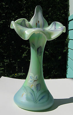 Rare Fenton Glass Family Signature Series Jack In The Pulpit Vase Made In U.s.a.