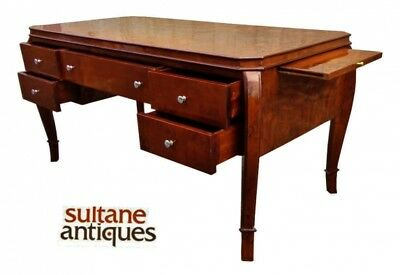 Splendid burl walnut 64 inches Art Deco Style Desk  with side slides