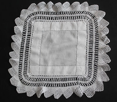 Vintage white square cloth with drawn thread work and crochet edge.