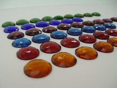 Selection of 43 vintage stained glass jewels for leaded light window projects