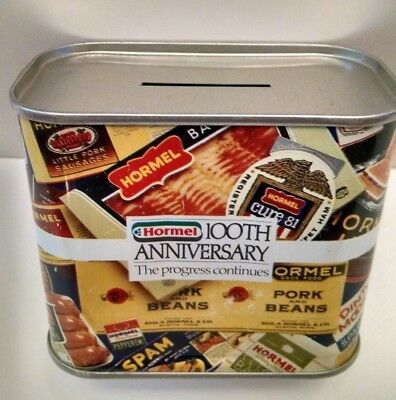 Vintage Hormel Spam Bacon Ham Tin Can Piggy Bank Advertising Ring Pull 1991 L@@K