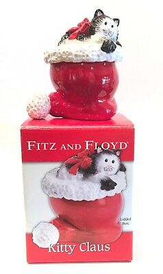 Fitz and Floyd Kitty Claus Lidded Box Christmas 2006 New In Box