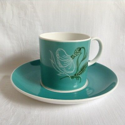 Vintage Susie Cooper hand painted china coffee can/cup and saucer - turquoise