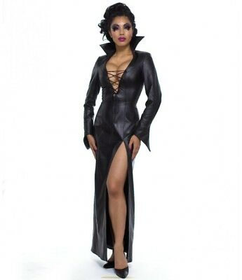 New Genuine leather V neck Dress High Collar Vamped Sleeves Domina Fetish Women