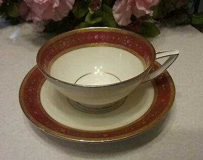 Tiffany & Co  New York Mintons cranberry & Gold cup & saucer #3995 excellent