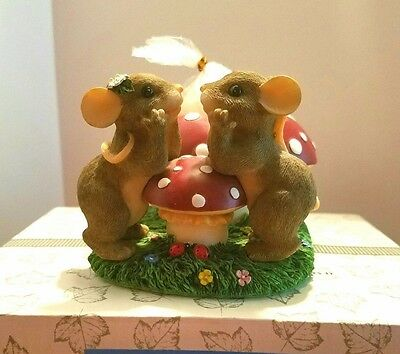 Charming Tails OUR LOVE BURNS BRIGHT 93/205 Votive Candle Holder Mouse Mice