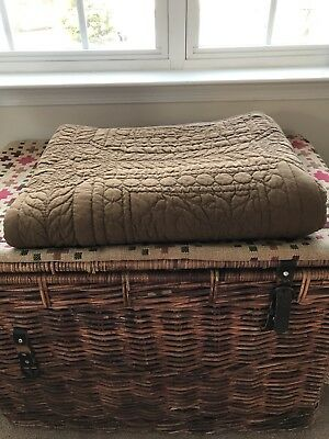 Early Handmade Brown-on-Brown Quilt. Nice Quilting. PA Country Primitive.